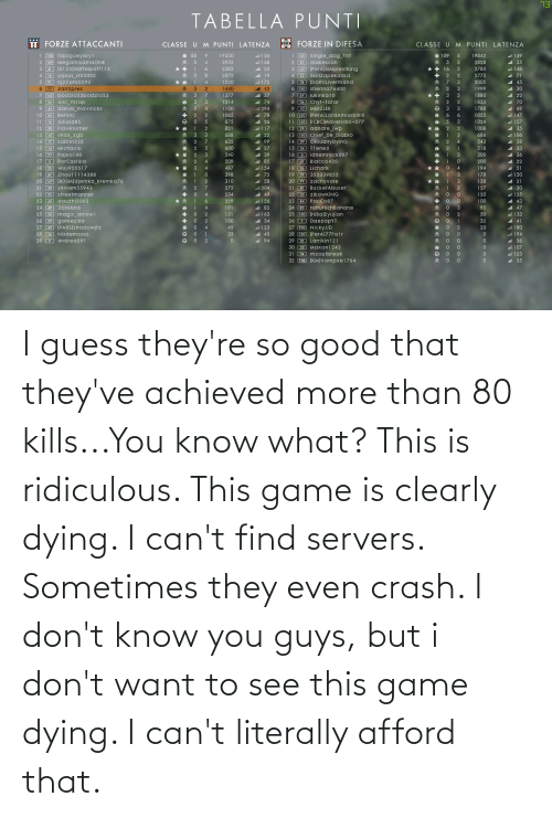 dying: I guess they're so good that they've achieved more than 80 kills...You know what? This is ridiculous. This game is clearly dying. I can't find servers. Sometimes they even crash. I don't know you guys, but i don't want to see this game dying. I can't literally afford that.