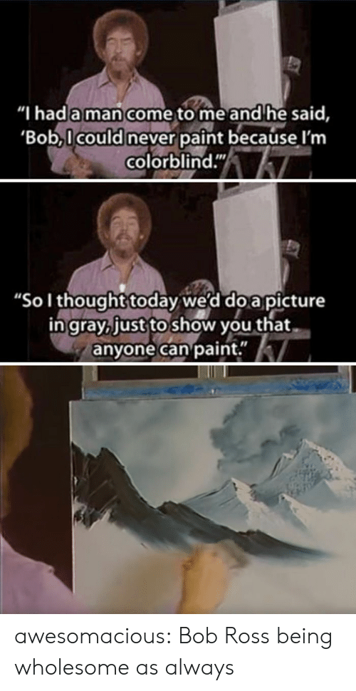 "Tumblr, Blog, and Bob Ross: ""I hada man come to me and he said,  Bob,l could never paint because l'm  colorblind.""  ""Sol thought today we'd do a picture  ingray, just to show you that  anyone can paint."" awesomacious:  Bob Ross being wholesome as always"