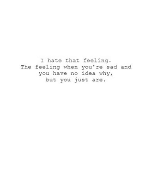 You Have No: I hate that feeling  The feeling when you're sad and  you have no idea why,  but you just are. https://iglovequotes.net/