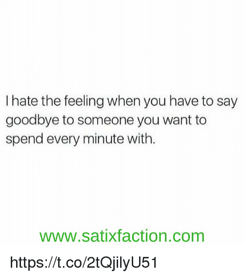 Memes, 🤖, and Com: I hate the feeling when you have to say  goodbye to someone you want to  spend every minute with.  www.satixfaction.com https://t.co/2tQjilyU51