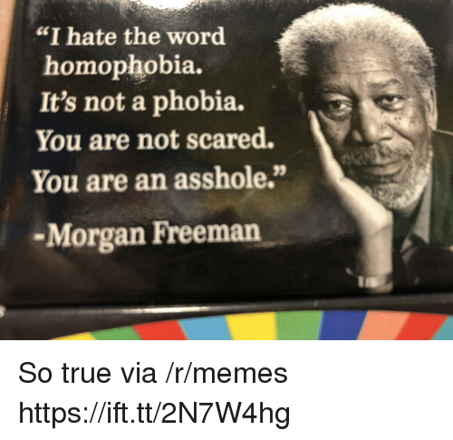 """Morgan Freeman: """"I hate the word  homophobia.  It's not a phobia.  You are not scared.  You are an asshole.""""  -Morgan Freeman So true via /r/memes https://ift.tt/2N7W4hg"""