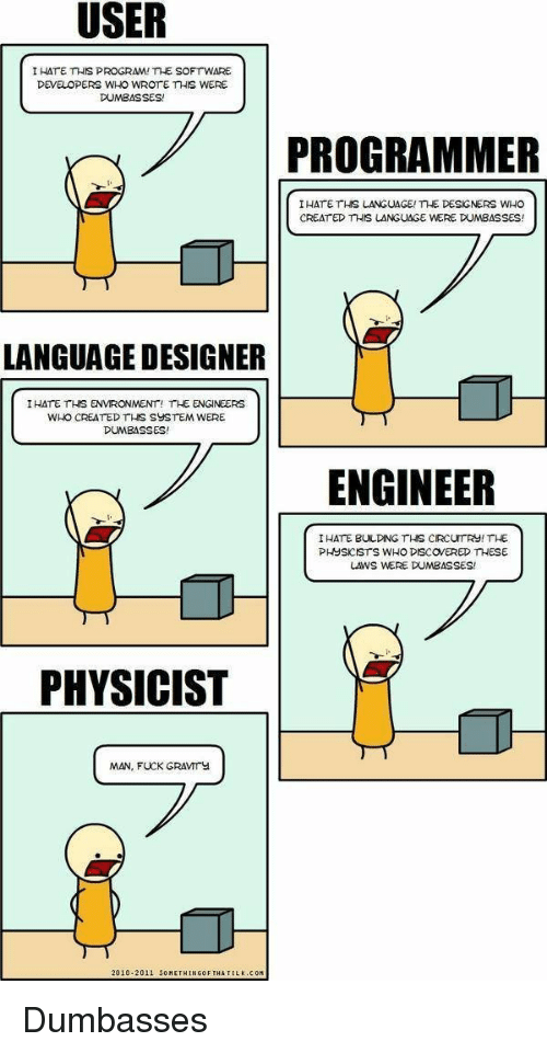 creat: I HATE THIS PROGRAM! THE SOFTWARE  DEVELOPERS WHO WROTE THIS WERE  DUMBASSES!  ..  7PROGRAMMER  I HATE THS LANGUAGE/me DESGNERS WHO  CREAT ED THIS LANGUAGE WERE DUMBASSES!  LANGUAGE DESIGNER  IHATE THS ENVRONMENT! THE ENGINEERS  WHO CREATED THS SYSTEM WERE  DUMBASSES!  ENGINEER  IHATE BULDING THS CIRCUTRY! THE  PHUSKISTS WHO DISCOVERED THESE  LAWS WERE DUMBASSES  PHYSICIST  MAN, FUCK GRAVIrY  2010-2011 5OMETHINGOF THA T  LK.COM Dumbasses
