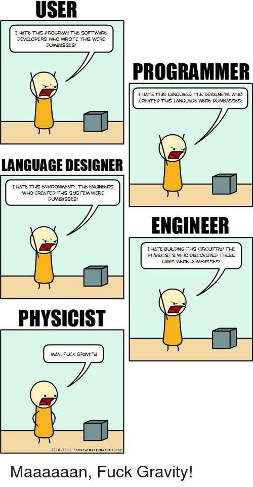 creat: I HATE THIS PROGRAM! THE SOFTWARE  DEVELOPERS WHO WROTE THIS WERE  DUMBASSES!  PROGRAMMER  IHATE THS LANGUAGE! THE DESIGNERS WHO  CREAT ED THIS LANGUAGE WERE DUMBASSES!  4)  LANGUAGE DESIGNER  IHATE THIS ENVIRONMENT! THE ENGINEERS  WHO CREATED THIS SUSTEM WERE  DUMBASSES!  ENGINEER  I HATE BULDING THS CIRCUTRY! THE  PHYSICISTS WHO DISCOVERED THESE  LAWS WERE DUMBASSES!  PHYSICIST  MAN, FUCK GRAVMITY  2010-2011 SOMETHINGOF THATILK. COM Maaaaaan, Fuck Gravity!