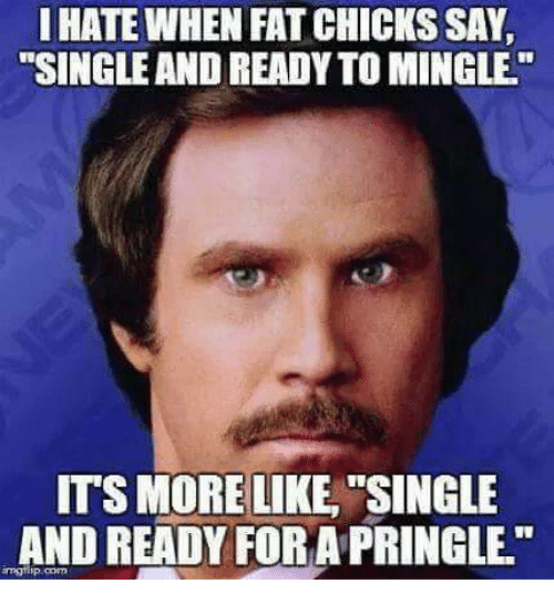 "ready to mingle: I HATE WHEN FAT CHICKS SAY  ""SINGLE AND READY TO MINGLE.""  ITS MORELIKE SINGLE  AND READY FORA PRINGLE.""  mglip.com"