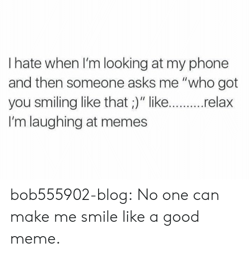 """Meme, Memes, and Phone: I hate when I'm looking at my phone  and then someone asks me """"who got  you smiling like that ;)"""" like...relax  I'm laughing at memes bob555902-blog:  No one can make me smile like a good meme."""