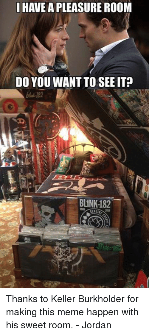 Blinke 182: I HAVE A PLEASURE ROOM  DO YOU WANT TO SEE IT?  BLINK-182 Thanks to Keller Burkholder for making this meme happen with his sweet room. - Jordan
