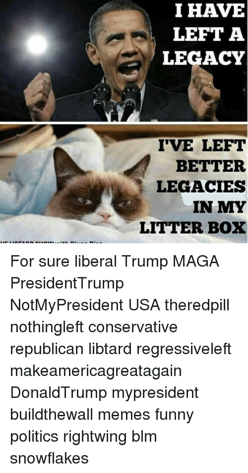 Libtard: I HAVE  LEFT A  LEGACY  IVE LEFT  BETTER  LEGACIES  IN MY  LITTER BOX For sure liberal Trump MAGA PresidentTrump NotMyPresident USA theredpill nothingleft conservative republican libtard regressiveleft makeamericagreatagain DonaldTrump mypresident buildthewall memes funny politics rightwing blm snowflakes
