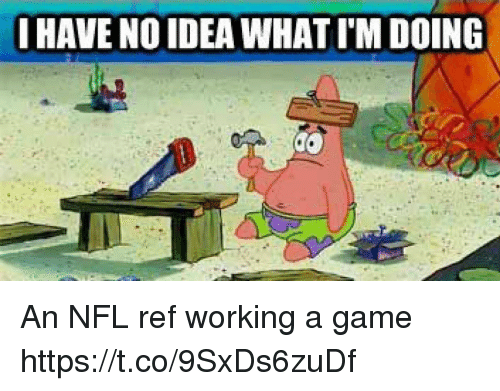 Nfl, Sports, and Game: I HAVE NO IDEA WHAT I'M DOING An NFL ref working a game https://t.co/9SxDs6zuDf