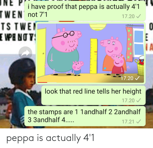 twen: i have proof that peppa is actually 4'1  TWEN not 7'1  TS TWEN  E VPE NO V  17.20 /  0  E  IA  17.20 /  look that red line tells her height  17.20 /  the stamps are 1 1andhalf 2 2andhalf  3 3andhalf 4....  17.21 / peppa is actually 4'1