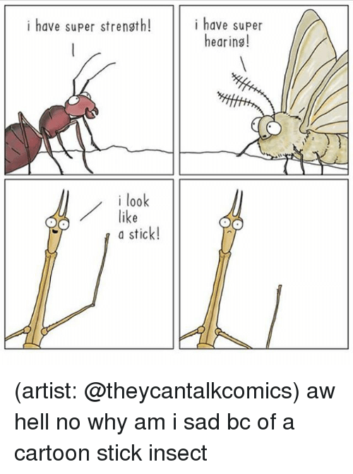 Memes, Cartoon, and Sad: i have super strensth!  have super  hearins  i look  a d  a stick! (artist: @theycantalkcomics) aw hell no why am i sad bc of a cartoon stick insect