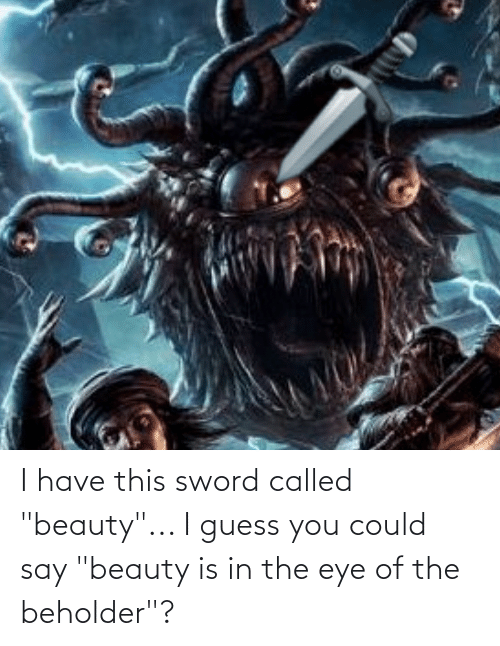 """I Guess You Could Say: I have this sword called """"beauty""""... I guess you could say """"beauty is in the eye of the beholder""""?"""