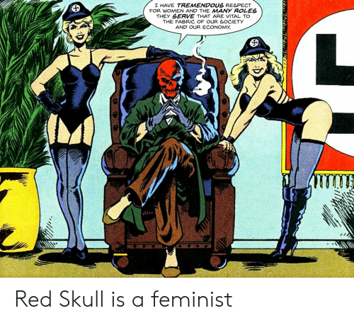 Respect, Skull, and Women: I HAVE TREMENDOUS RESPECT  FOR WOMEN AND THE MANY ROLES  THEY SERVE THAT ARE VITAL TO  THE FABRIC OF OUR SOCIETY  AND OUR ECONOMY Red Skull is a feminist