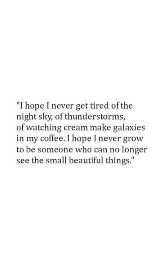 """beautiful things: """"I hope I never get tired of the  night sky, of thunderstorms,  of watching cream make galaxies  in my coffee. I hope I never grow  to be someone who can no longer  see the small beautiful things."""""""