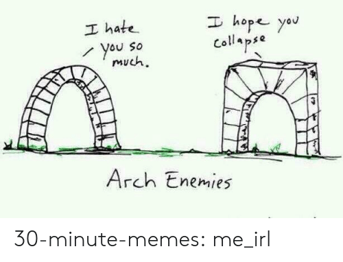 Memes, Target, and Tumblr: I hope yau  I hate  You So  much  Collapse  Arch Enemies 30-minute-memes:  me_irl