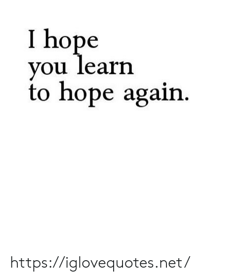 Hope, Net, and You: I hope  you learn  to hope again. https://iglovequotes.net/