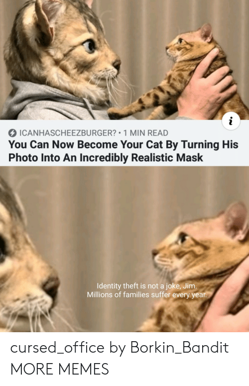 Dank, Memes, and Target: i  ICANHASCHEEZBURGER? 1 MIN READ  You Can Now Become Your Cat By Turning His  Photo Into An Incredibly Realistic Mask  Identity theft is not a joke, Jim.  Millions of families suffer every year. cursed_office by Borkin_Bandit MORE MEMES