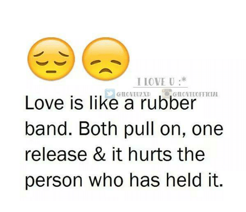 Rubber Banding: I IOVE U:*  CILOVEUOFFICIAL  Love is like a rubber  band. Both pull on, one  release & it hurts the  person who has held it.
