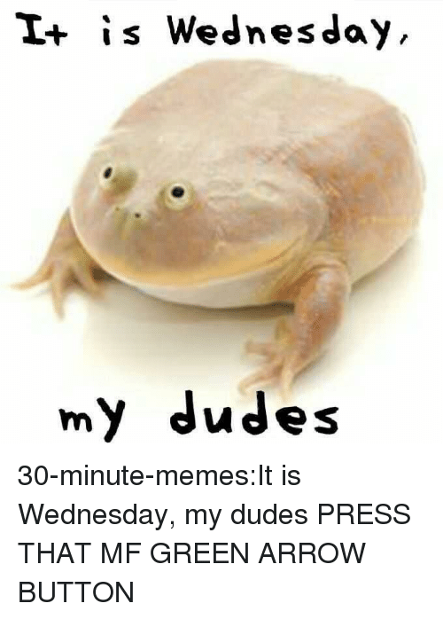 it is wednesday my dudes: I+ is Wednesday  my dudes 30-minute-memes:It is Wednesday, my dudes PRESS THAT MF GREEN ARROW BUTTON