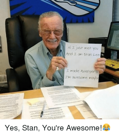 i just met you: I just met you  And r am Stan Lee  I made Avenger 3  I'm awesome maybe Yes, Stan, You're Awesome!😂