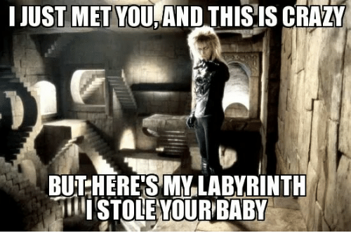 i just met you: I JUST MET YOU,AND THISIS CRAZY  BU HERE'S MYLABYRINTU  ISTOLEYOUR BABY