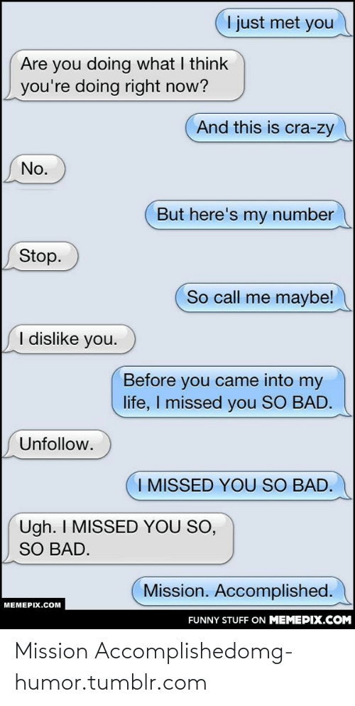 i just met you: I just met you  Are you doing what I think  you're doing right now?  And this is cra-zy  No.  But here's my number  Stop.  So call me maybe!  I dislike you.  Before you came into my  life, I missed you SO BAD.  Unfollow.  I MISSED YOU SO BAD.  Ugh. I MISSED YOU SO,  SO BAD.  Mission. Accomplished.  MEMEPIX.COM  FUNNY STUFF ON MEMEPIX.COM Mission Accomplishedomg-humor.tumblr.com