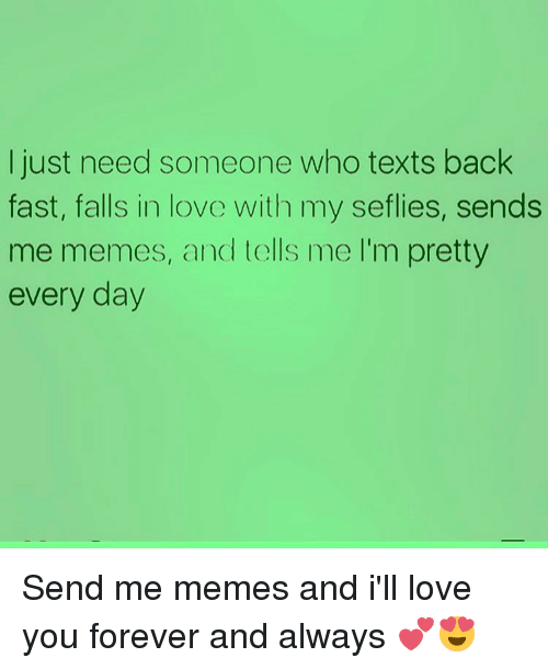 ill love you forever: I just need someone who texts back  fast, falls in love with my seflies, sends  me memes, and tells me l'm pretty  every day Send me memes and i'll love you forever and always 💕😍