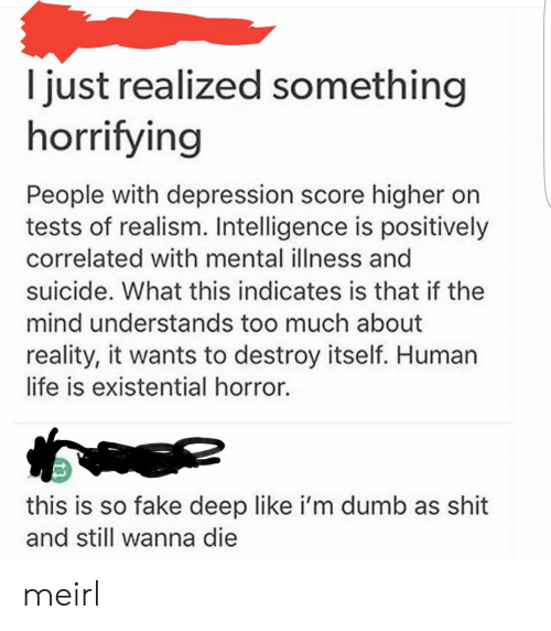 Human Life: I just realized something  horrifying  People with depression score higher on  tests of realism. Intelligence is positively  correlated with mental illness and  suicide. What this indicates is that if the  mind understands too much about  reality, it wants to destroy itself. Human  life is existential horror.  this is so fake deep like i'm dumb as shit  and still wanna die meirl