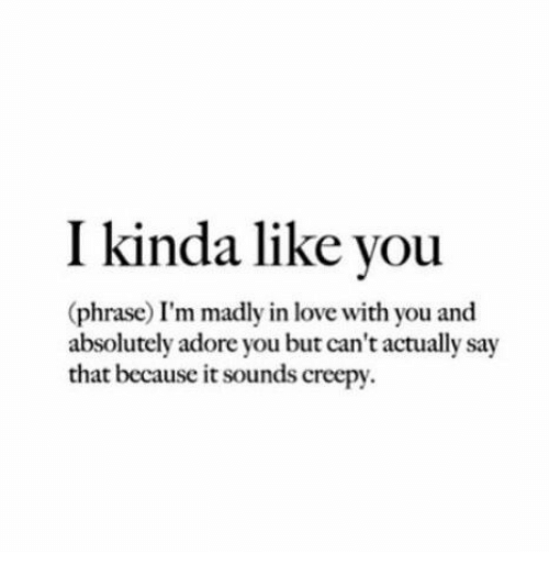 Creepy, Love, and Adore: I kinda like vou  (phrase) I'm madly in love with you and  absolutely adore you but can't actually say  that because it sounds creepy.