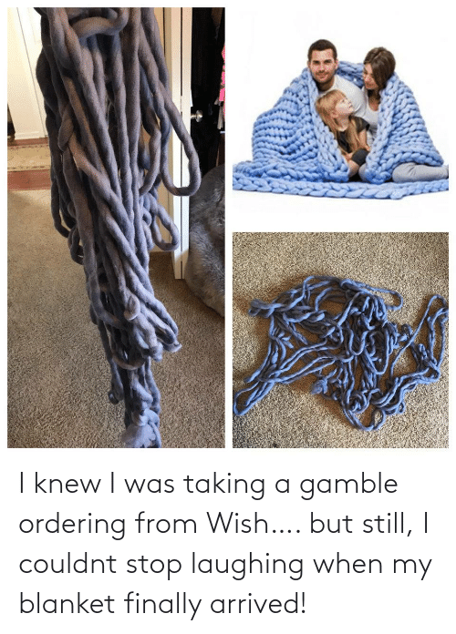I Knew: I knew I was taking a gamble ordering from Wish…. but still, I couldnt stop laughing when my blanket finally arrived!