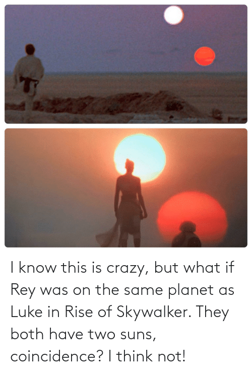 This Is Crazy: I know this is crazy, but what if Rey was on the same planet as Luke in Rise of Skywalker. They both have two suns, coincidence? I think not!