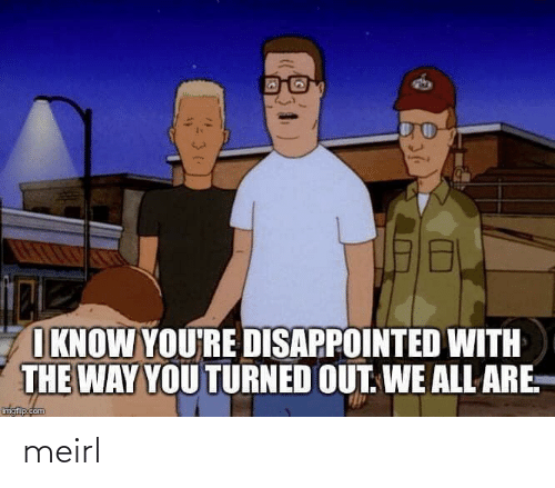 Disappointed: I KNOW YOU'RE DISAPPOINTED WITH  THE WAY YOU TURNED OUT. WE ALL ARE.  imgflip.com  स meirl