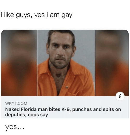 k-9: i like guys, yes i am gay  WKYT.COM  Naked Florida man bites K-9, punches and spits on  deputies, cops say yes...