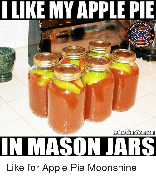 Apple Pie: I LIKE MY APPLE PIE  NECK NAT  rednecknation.com  IN MASON JARS Like for Apple Pie Moonshine