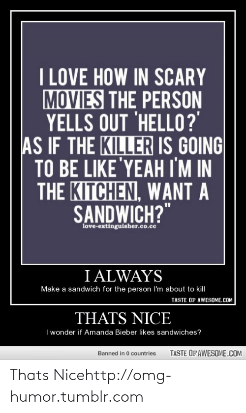 """Always Make: I LOVE HOW IN SCARY  MOVIES THE PERSON  YELLS OUT 'HELL0?'  AS IF THE KILLER IS GOING  TO BE LIKE'YEAH IM IN  THE KITCHEN, WANT A  SANDWICH?""""  love-extinguisher.co.cc  I ALWAYS  Make a sandwich for the person I'm about to kill  TASTE OF AWESOME.COM  THATS NICE  I wonder if Amanda Bieber likes sandwiches?  TASTE OF AWESOME.COM  Banned in 0 countries Thats Nicehttp://omg-humor.tumblr.com"""