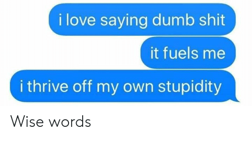 Wise Words: i love saying dumb shit  it fuels me  i thrive off my own stupidity Wise words