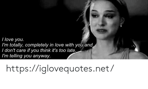 Love, I Love You, and Net: I love you.  I'm totally, completely in love with you and  I don't care if you think it's too late  I'm telling you anyway https://iglovequotes.net/