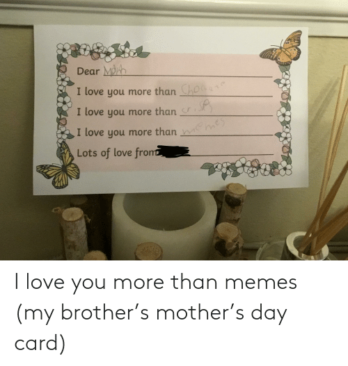 I Love You: I love you more than memes (my brother's mother's day card)