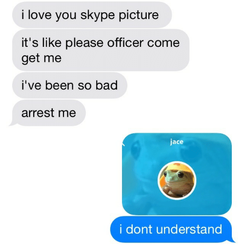 Me Ive: i love you skype picture  it's like please officer come  get me  I've been so bad  arrest me  jace  i dont understand