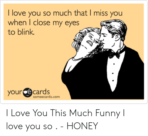 Funny, Love, and I Love You: I love you so much that I miss you  when I close my eyes  to blink  your ecards  someecards.com I Love You This Much Funny I love you so . - HONEY