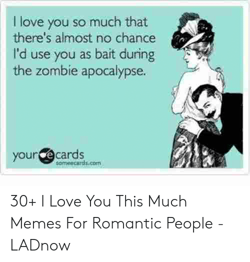 Love, Memes, and I Love You: I love you so much that  there's almost no chance  I'd use you as bait during  the zombie apocalypse.  your @cards  eameecards.com 30+ I Love You This Much Memes For Romantic People - LADnow