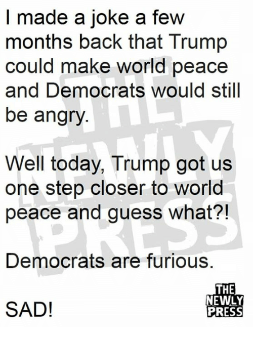 One Step Closer: I made a joke a few  months back that Trump  could make world peace  and Democrats would still  be angry  Well today, Trump got us  one step closer to world  peace and guess what?!  Democrats are furious.  THE  NEWLY  PRESS  SAD!