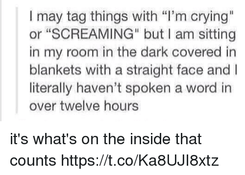 """Straight Faces: I may tag things with """"I'm crying""""  or """"SCREAMING"""" but I am sitting  in my room in the dark covered in  blankets with a straight face and I  literally haven't spoken a word in  over twelve hours it's what's on the inside that counts https://t.co/Ka8UJI8xtz"""