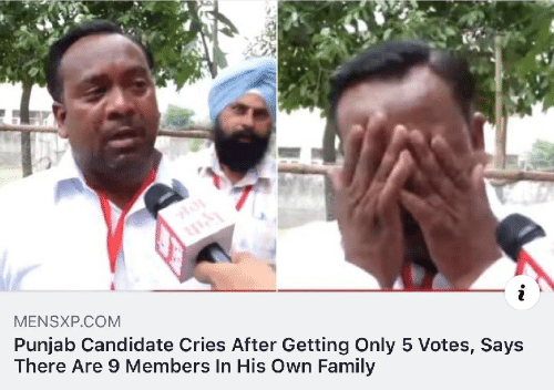 Candidate: i  MENSXP.COM  Punjab Candidate Cries After Getting Only 5 Votes, Says  There Are 9 Members In His Own Family