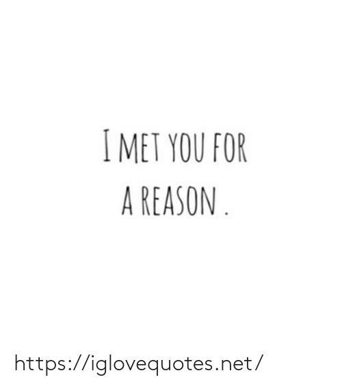 Reason, Net, and You: I MET YOU FOR  A REASON . https://iglovequotes.net/