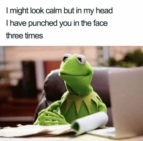In The Face: I might look calm but in my head  T have punched you in the face  three times