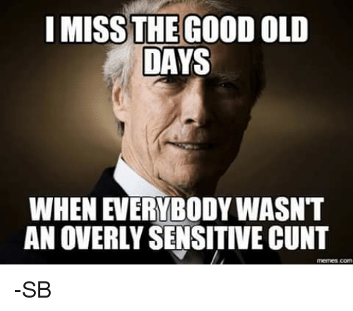 Overly Sensitive: I MISS THE GOOD OLD  DAYS  AN OVERLY SENSITIVE CUNT -SB
