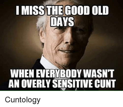Overly Sensitive: I MISS THE GOOD OLD  DAYS  WHEN EVERYBODY WASNT  AN OVERLY SENSITIVE CUNT Cuntology