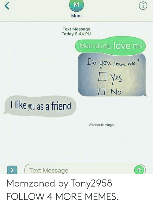 No T: (i  Mom  Text Message  Today 8:44 PM  Mom do you love me  Do  youlove me?  ys  YAS  No  T like you as a friend  @sober.flamingo  Text Message  M Momzoned by Tony2958 FOLLOW 4 MORE MEMES.