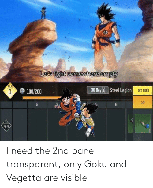 Goku: I need the 2nd panel transparent, only Goku and Vegetta are visible