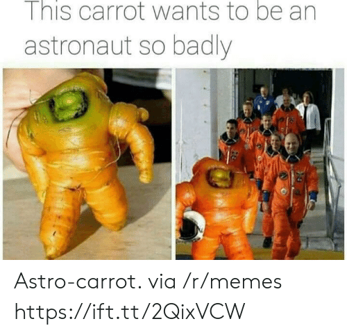 carrot: I nis carrot wants to be an  astronaut so badly Astro-carrot. via /r/memes https://ift.tt/2QixVCW
